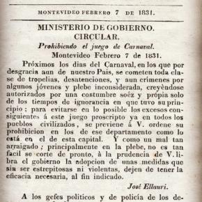 """1831 / El año en que se prohibieron los juegos de Carnaval … Esa """"costumbre soez y propia de tiempos de ignorancia."""" según se lee en la circular impresa  por la Imprenta de la Caridad en febrero de 1831"""
