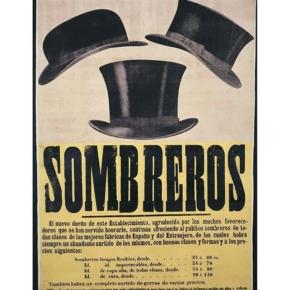 Algunas joyitas que aparecen por ahí… Cartel publicitario, año 1870. Compuesto con tipografía móvil de metal y madera con imagen en grabado. Impreso en imprenta Pedro Montero, Madrid