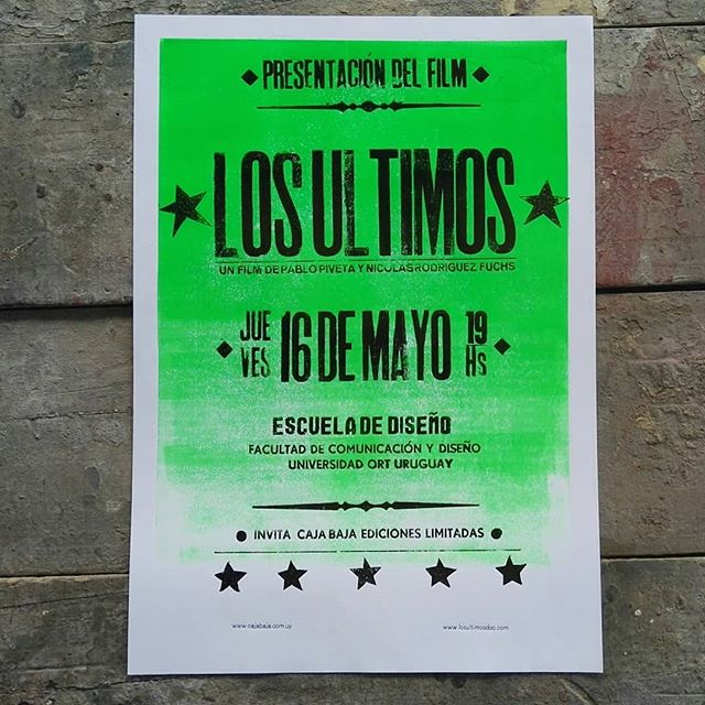 *LOS ULTIMOS*  ya tiene su afiche promocional tipográfico para su exhibición en Uruguay !  Recuerden, jueves 16, 19 horas, Escuela de diseño Universidad ORT.  Aceeso libre a todo público hasta completar la sala !  @losultimosdoc